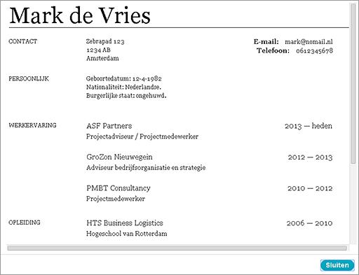 Gratis CV maken   Webwijzer
